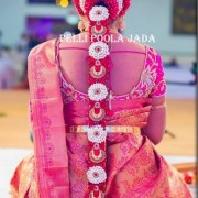 Latest South Indian bridal Hairstyles, poojadai, You can book your wedding flower jadai, kalyana jadai, valaigappu jadai online in poo jadai website